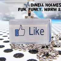 CLEARANCE SALE LIKE Facebook Glass Tile Pendant Humor Social Media  Handmade Funny Jewelry