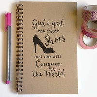 Writing journal spiral notebook cute diary sketchbook - Give a girl the right shoes and she can conquer the world, Marilyn Monroe Quote