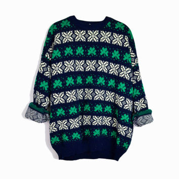 Vintage Irish Clover Sweater in Navy Blue & Kelly Green / St Patrick's Day Sweater - men's XL
