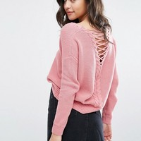 Miss Selfridge Lattice Detail Sweater at asos.com