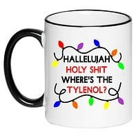 Where's the Tylenol Griswolds Christmas Vacation Funny Black and White 11 Ounce Ceramic Coffee Mug
