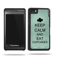 Keep Calm And Eat Cupcakes Teal Floral Blackberry Z10 Case - For Blackberry Z10