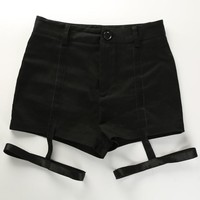 Hot Shorts Sexy Hollow out Strap Harness  Girls Black High Waist Skinny Garter  Thigh Bandages Female Punk Gothic AT_43_3