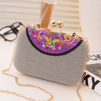 Freeship New 2014 Women's vintage ethnic style embroidery clutch evening bag / girls coin Purse chain Shoulder Messenger Bag