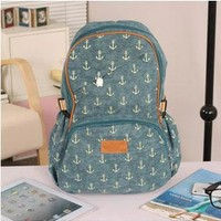Fashion Vintga Anchor Print Canvas Backpack from styleonline