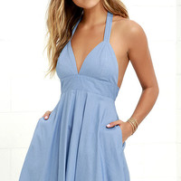 I'm Smitten Blue Chambray Halter Dress