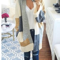 Polychrome Contrast Color Block Open Front Longline Cardigan