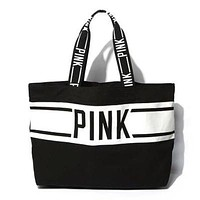 "2016 "" Pink Printed "" Victoria's Secret Like Canvas Stylish Handy Large Tote Purse Handbag Shoulder Bag _ 9338"