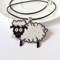 Sheep pendant, beadwork lamb leather necklace, chinese new year, funny zodiac sign gift idea, beaded jewelry