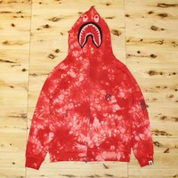 Bape Aape High quality new fashion shark print camouflage couple hooded long sleeve sweater coat Red