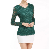 2017 Fashion Autumn Tops Women Lace Crochet Shirts Long Sleeve V Neck Blouses Causal Solid Blusas Fe