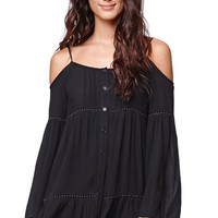 LA Hearts Button Down Cold Shoulder Dress - Womens Dress