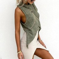 Solid color stitching irregular sleeveless Shirt Blouse Tops