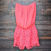 Strapless Sweetheart Bust Chiffon Romper in Coral