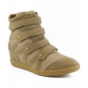 Qupid Patrol-23 High Top Velcro Wedge Sneakers Ankle Boot TAUPE