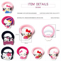 1PCS Hello Kitty Cute Hairbands Kid Scrunchy Hairwear Elastic PVC Hair Accessories Girl's Hair Rope Kid Gift Party Favor Jewelry