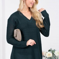 Winter Knit Sheer Sweater | Pine Green