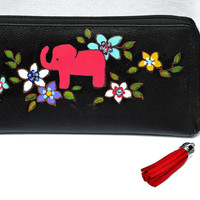 Boho Elephant Zipper Wallet Hand Painted Black Leather Bohemian Bag Accessories FREE SHIPPING