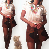 Vintage Rare 1950s 1960s Artisan Made Penny Lane Hungarian Hand Embroidered Deadstock Hippie Boho Peasant Blouse | Size Small