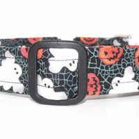 Spooky Ghost and Pumpkin Halloween Dog Collar