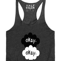 Okay Okay Racerback tank tee-Female Heather Onyx Tank