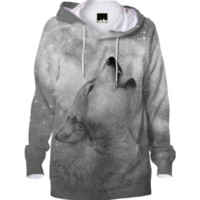 Dreamer of Dreams (Galaxy Wolf Howl Mono Version 2) Unisex Hoodie created by soaringanchordesigns | Print All Over Me