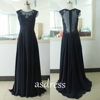 Navy blue prom dresses, lace Party dresses evening dress bridesmaid dress,see through pageant Chiffon prom dresses Mother of the bridal Gown