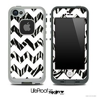 Real Zebra Print and White Chevron Pattern Skin for the iPhone 5 or 4/4s LifeProof Case