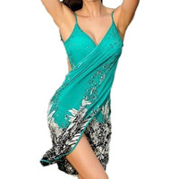Summer Dress Women's Sexy Swimwear Floral Bikini Swim Suit One Piece Cover Up Beach Dress (Color: Blue) = 1958458692