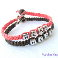 Hers and Hers Bracelets for LGBT Couples, Coral and Dark Brown Hemp Jewelry