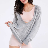 Out From Under Cozy Plunging Hoodie Sweatshirt - Urban Outfitters