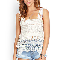 FOREVER 21 Crocheted Square-Neck Top Cream