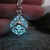 Glow In The Dark Necklace,Hollow Tree of Life Cube Necklace,glow pendant necklace,Halloween jewelry,Christmas Gift