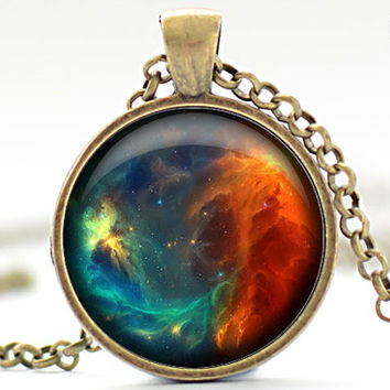 Nebula Necklace, Galaxy Jewelry, Space Pendant, Gift for Him, Gift for Her (1297)