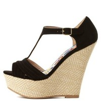 T-Strap Woven Platform Wedges by Charlotte Russe