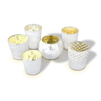 Best of Show Vintage Mercury Glass Votive Tea Light Candle Holders - Pearl White (Set of 6, Assorted Designs)