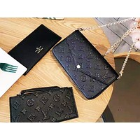 LV  hot seller of women's monochrome embossed two-piece one-shoulder bag