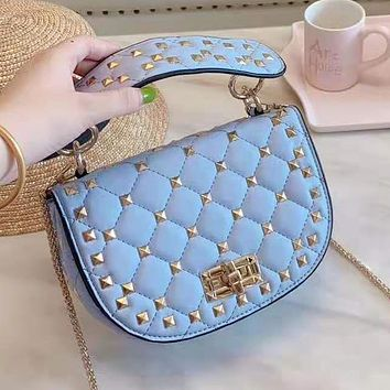 Valentino Newest Trending Women Leather Rivet Tote Handbag Shoulder Bag Satchel Blue