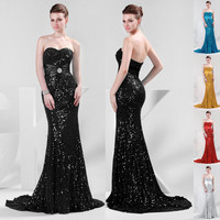 Sequins Beaded Formal Evening Long Gown Party Prom Ball Wedding Bridesmaid Dress