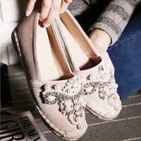 Round Toe Pearl Comfortable Bottom Flat