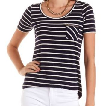 Striped High-Low Pocket Tee by Charlotte Russe