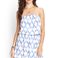 FOREVER 21 Strapless Abstract Geo Dress Cream/Blue