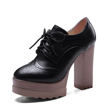 Woman Super High Heeled Platform Lace Up Oxford Shoes