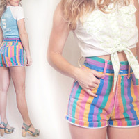 Vintage Super High Waisted Striped Jean Shorts Small | Multicolor Vertical Striped 1980s Thick Waistband Retro Hot Pants | Cuffed Rolled Up