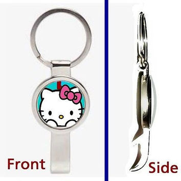Hello Kitty Pennant or Keychain silver tone secret bottle opener