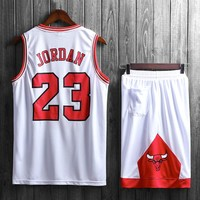 "NBA Chicago Bulls #23 Michael Jordan ""Bulls"" basketball uniform two-piece suit White"