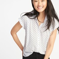 Relaxed Lightweight Polka-Dot Cap-Sleeve Shirt for Women | Old Navy