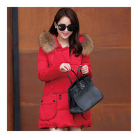 Winter Woman Fur Collar Down Coat Middle Long Warm   red   S