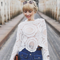 Fall Fashion White Long Sleeve Hollow Lace Shirt Blouse