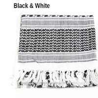 100% Cotton Premium Arab Shemagh Tactical Desert Scarf for Men or Women, Black & White